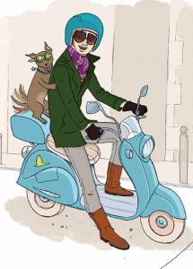 Chien sur  un scooter